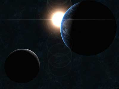 Sol, Lua e Terra.