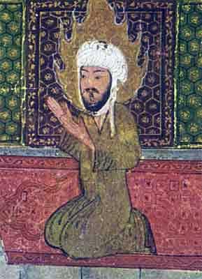 O profeta Maomé, visto numa pintura turca da Idade Média. Os muçulmanos árabes normalmente fazem restrições à representação da figura humana, e mais ainda do profeta fundador de sua religião. Contudo, os artistas turcos, apesar de também muçulmanos, não se sujeitavam a tal restrição.