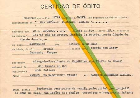 Certidão de óbito de Getulio Vargas