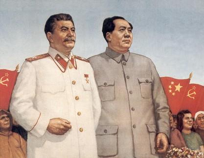 Líderes comunistas Josef Stalin e Mao Zedong