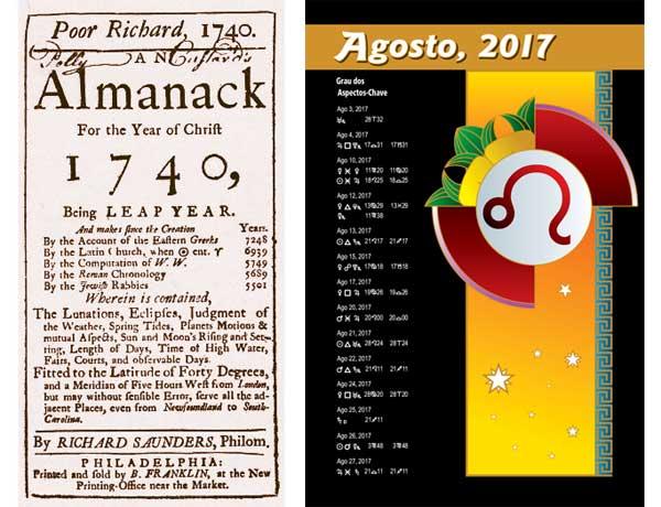 Almanaques astrológicos de 1740 e 2017.