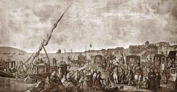 Fuga da família real - cais de Lisboa