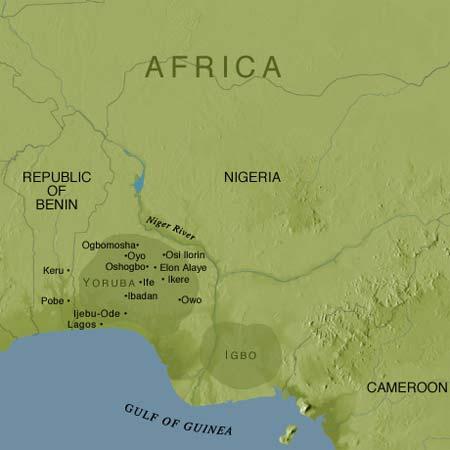 Território iorubá na Nigéria, Benin e Togo - mapa
