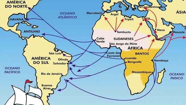 Mapa do tráfico de escravos e distribuição de etnias africanas no Brasil