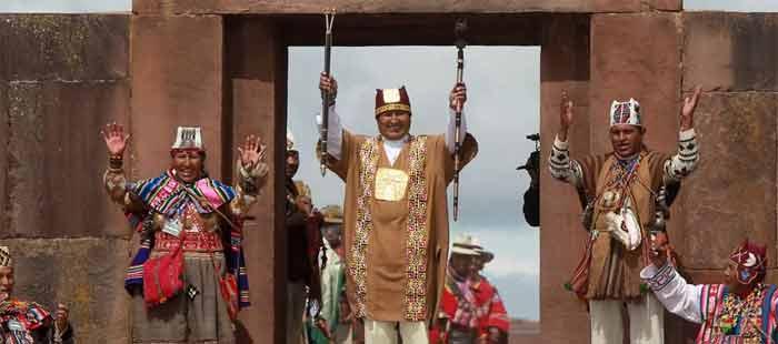 Evo Morales em Tiahuanaco