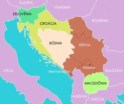 Mapa dos Balcãs
