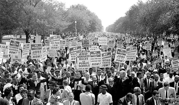 Martin Luther King à frente da Marcha sobre Washington de 1963